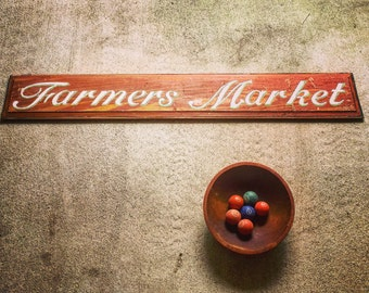 """Farmers Market Hand Painted Wooden Sign / Antique Solid Wood Panel / Distressed / Chippy / 60"""" X 9.5"""""""