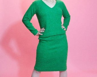 HALF PRICE SALE Vintage 1960s Mohair Skirt Suit - Grass Green Boucle - Fall Fashions