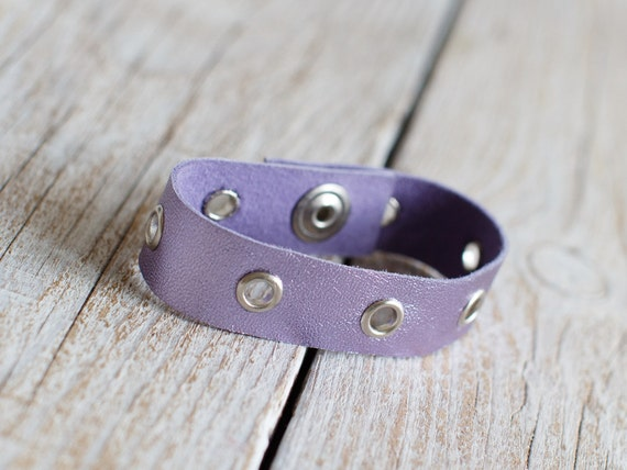 Purple leather cuff bracelet with silver eyelets