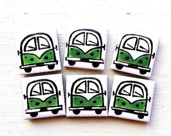 Campervan Magnet Green, Combi Magnet, Splitscreen, Wedding Favours, Fridge Magnet, Refrigerator Magnet
