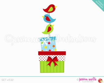 Instant Download Stacked Christmas Birds Clip Art, Cute Digital Clipart, Christmas Birds Clip art, Christmas Birds Gifts Illustration, #532