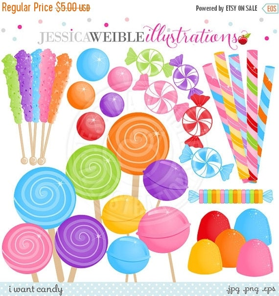 ON SALE I Want Candy Cute Digital Clipart - Commercial Use Ok - Candy Clipart, Candy Graphics, Lollipop, Rock Candy, Gumdrops