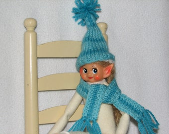 Elf Stocking Cap and Scarf - Elf Accessories - Elf Clothes - RTG - in Aqua & Turquoise Blue Wool