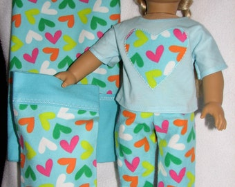 "Doll & Girl Valentine Heart Pillowcases with matching 18"" Doll  Pajamas"