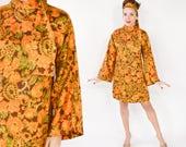 60s Floral Dress | Orange Print Long Sleeve Mini | Medium