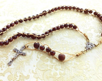 Push Rosary with Sacred Heart Crucifix and Scroll Jesus & Mary Center