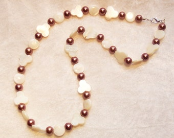 Brown Necklace, White Necklace, Mother of Pearl Necklace, Glass Pearl Necklace, Club Shapes, Cream Mother of Pearl, Bronze Brown