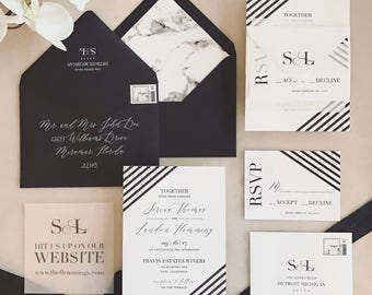 Serena Wedding Invitation Suite with Vellum Insert + Band -  Black and White (customizable)