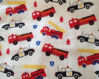 Firetrucks Police Cars Flannel Fabric Fire Truck Hook and Ladder