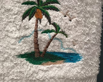 Palm Tree Dreams embroidered hand towel
