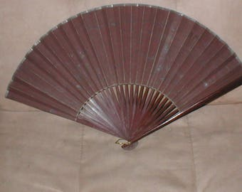Antique Hand Painted Silk Folding Fan