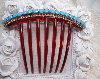 French hair comb with 6mm Turquoise color rhinestones and Swarovski crystal elements hand made french twist fascinator auburn comb