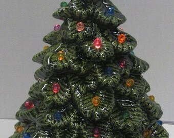"""Ceramic Christmas tree with lights and no snow ~ 8"""" tall x 6"""" wide"""