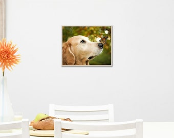 Cute Dog and Butterfly- Personalized Photo Print, Art on Wood, Custom Photo on Wood, Custom Art on Wood, Image on Plywood, Photo Prints w024