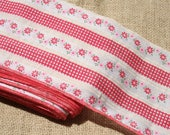 """Vintage Red Gingham Calico Fabric Trim 5"""" Wide"""
