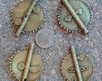 4 Baule Brass Pendants 40mm