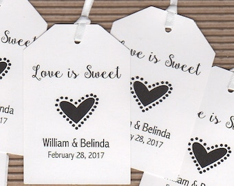 Love Is Sweet Thank You Favor Gift Tags, Personalized Wedding Favor Gift Tags, Honey Candy Jam Cookie Jar Label Tags