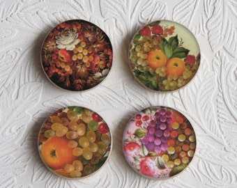 "Fruit Wooden Magnets, Decoupage Print, Set of 4, 1.5"" in Size  W004"