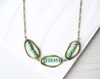Modern Brass Necklace - Seed Bead Jewelry, Aqua, Links, Contemporary, Green, Gold, Turquoise, Antiqued
