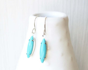 Dainty Turquoise Drop Earrings, Silver Dangle, Small, Nickel Free Titanium, Sterling, Aqua Blue Glass, Marquis, Clip On