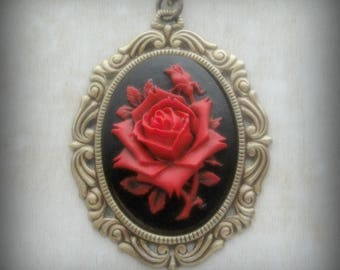 Cameo Necklace - Victorian Jewelry - Rose Cameo - Rose Necklace - Neo Victorian Jewelry - Gothic Necklace - Cameo Jewelry - Gothic Jewelry