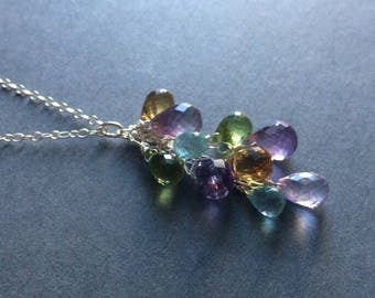 Amethyst Peridot Citrine Topaz Gems Necklace.  Natural Gemstones.  Wire wrapped