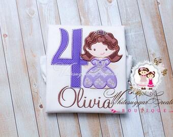 Girl Princess Birthday Shirt - Custom Sofia Princess Birthday Outfit - Purple Princess Birthday Shirt