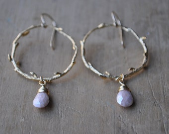 Gold Branch Hoop Earrings with Peach Moonstone Drops