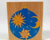 Holiday SALE Rubber Stamp Ornament - Celestial, Sun, Moon, Stars, Galaxy, Holiday, Christmas