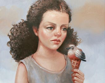 Single Scoop. Signed Print of an Original Oil Painting