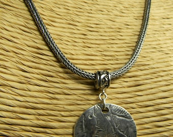 Boho Tribal Jewelry Leaf Textured Sterling Silver Pendant Snake Woven Bali Chain