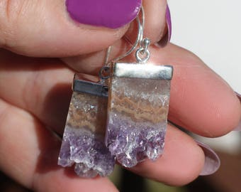 RESERVED FOR ANGELA Crystal Cave - Crystal Amethyst Druzy Slice Sterling Silver Earrings