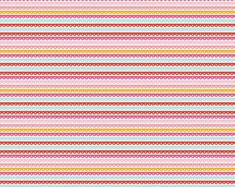 Girl Crazy Girl Stripe Pink by Dani for Riley Blake Designs - 100% Cotton Flannel Fabric - half yard