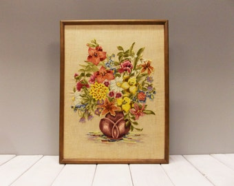 Vintage Framed Crewel Embroidery--- Large Bouquet of Crewel Stitched Flowers