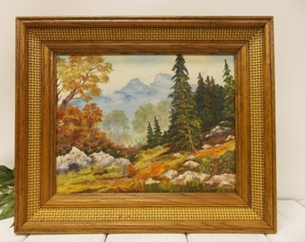 Vintage Original Mountain Landscape Painting--- Framed Original Oil Painting dated 1981