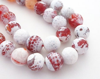 "Fire Crab Agate Beads - Brown Orange White - Faceted Agate Round Beads - Snow Candy - Gemstone for jewelry Making - 12mm - 16"" Strand"