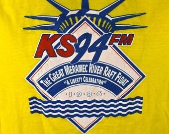 1986 New York Radio -KS 94 FM - Screen Stars 50/50 T-Shirt, Great Meramec River Raft Float