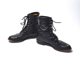 Black Justin Lace Up Packer Boots, Women's Size 8 C // Roper Boots, Black Ankle Boots