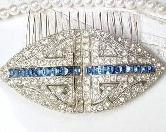 Antique 1930 Bridal Hair Comb / Wedding Dress Sash Brooch Sapphire Blue Art Deco Duette Clips Paste Rhinestone Vintage Navy Gatsby Headpiece