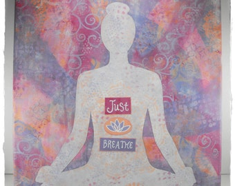 Canvas Wall Art - Just Breathe - Meditation Lotus Yoga Painting Inspirational