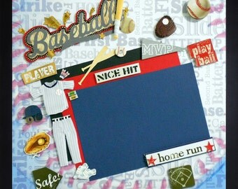 PLAY BALL Premade Memory Album Page (Gallery Wood Frame Sold Separately)