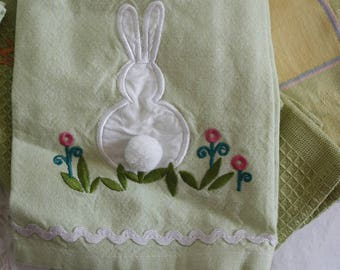 5 Easter / Spring Dish Towels / Tea Towels bunnies / rabbits