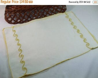 SALE 50% OFF Vintage Linen embroidered ivory and gold vintage dinner placemats