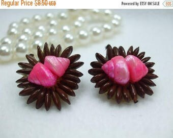 SALE 50% OFF Vintage  Earrings Pretty Brown Bead and Pink Shells Clip On