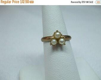 SALE 50% OFF Vintage genuine triple tiny pearl adjustable goldtone ring