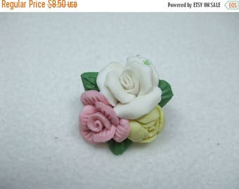 SALE 50% OFF Vintage clay pink white and   yellow rose vintage brooch