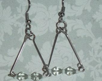 Silvertone Triangular Dangle Earrings with Pale Green Beads