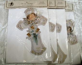 "4 Vintage Repro Old Print Factory Victorian Scrap Easter Cupids Easel Back 11"" Lot NOS"