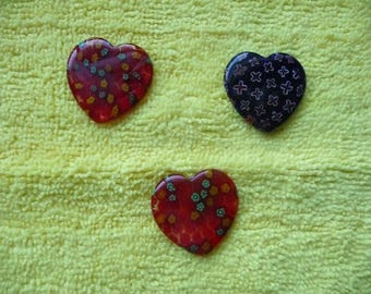 Focal, Millefiori glass multicolored, Package of 3 Hearts