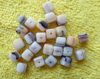 Beads, 6x6mm Natural Cube with Black and Brown Design. Pack of 25 beads.